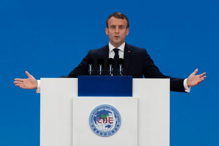 France's Macron Visits China International Import Expo in Shanghai